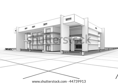 Home Design on 3d Modern House Design In A Blueprint Style Stock Photo 44739913