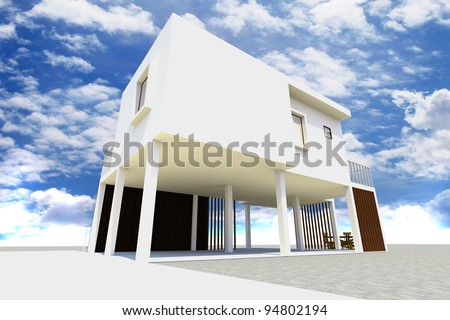 3d Modern house rendered with blue sky.
