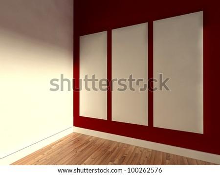 3d modern interior, empty frame