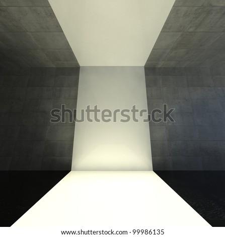 3d modern interior, empty stage
