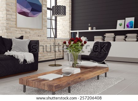 3d Modern living room interior in black and white decor with textured brick walls, a sofa and chair around a wooden coffee table and cabinet with books. 3d Rendering.