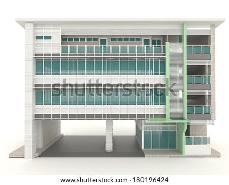 3d modern office building architecture exterior design in for Modern office exterior design