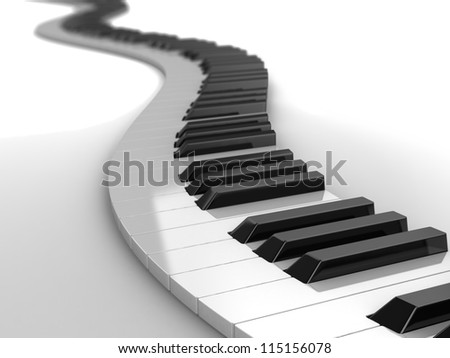 3d modern piano curves, music concept
