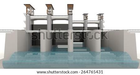 3D modern water gate design model in white background