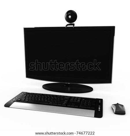 3d modern work desk with a black computer display, a wireless keyboard and a wireless mouse