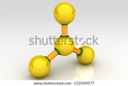 3D Molecule on white background