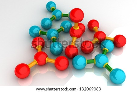3D Molecules on white background