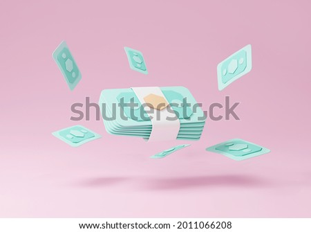3D money banknote transfer on pink background, banknote on pink background, banknote 3d online payment and payment transfer. 3d holding render for business, bank transfer, finance, investment, money