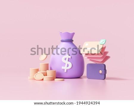 3D Money concept. money bag, coins stack and credit card wallet. 3d render illustration