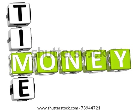 3D Money Time Crossword on white background