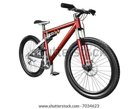 3D mountain bike on white front view isolated