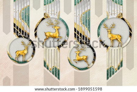 3d mural illustration wallpaper golden deer in circles with lines . modern abstract background for wall art