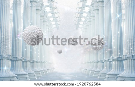 3d mural rendering wallpaper . Columns with 3d sphere and light circles . modern white background for wall decor