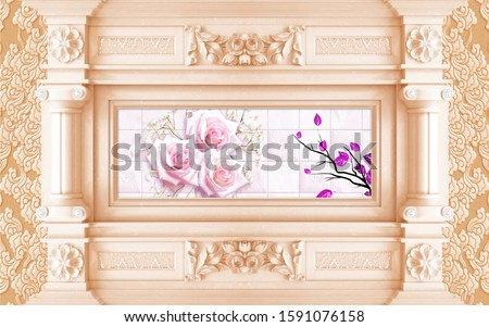 3d mural wallpaper Classic armchair in classic interior with copy space.Walls with mouldings,ornate cornice Decorative columns and flowers background