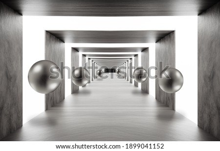 3d mural wallpaper . illustration background tunnel with sphere . empty hall background Graphical modern art Foto stock ©