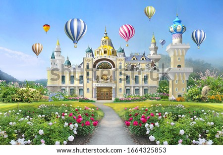 3d mural wallpaper  palace with garden and flowers landscape . colored Air balloons in the sky . suitable for Childrens wallpaper  stock photo