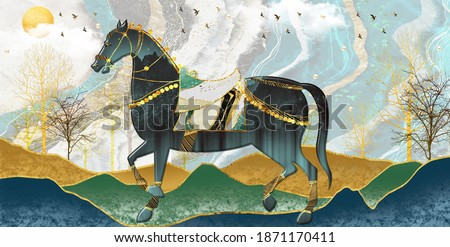 3D mural wallpaper suitable for frame canvas print . horse and golden trees with colored mountains . golden sun and birds with modern background