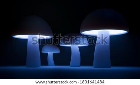 3d mushroom render, blue mushroom  wallpaper, high definition image of mushrooms, neon mushrooms background, magical mushroom background