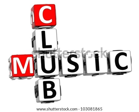 3d music club crossword on white background stock photo