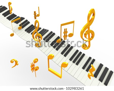 3d music piano keys with golder musical notes symbols
