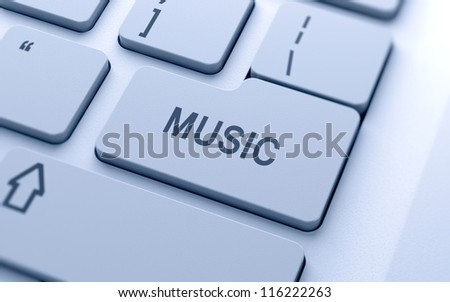3d music text sign button on keyboard with soft focus