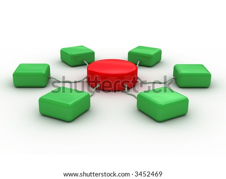 3d network concept (Conceptual 3D image can be used as abstract background for printing and web)