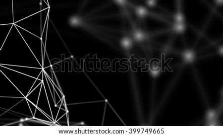 3D network evolving. Lines and dots forming a mesh. Depth of field settings. Background for communications, technology, science, computer networks, internet, social media. White on black. 3D rendering