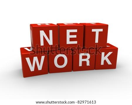 3d network red internet cube teamwork networking