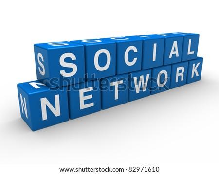 3d network social blue global cube white