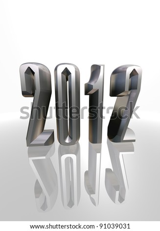 3d new year 2012 number with reflection on white background