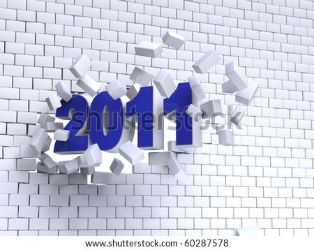3d new year 2011  shape passing through brik wall
