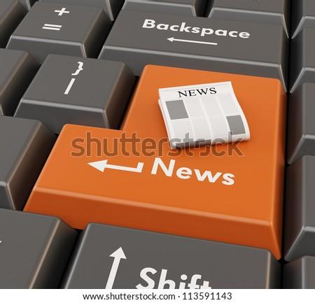 3d newspaper on enter button - computer news concept
