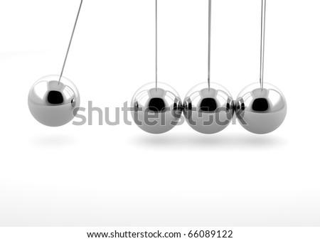 3d newton pendulum isolated on white background