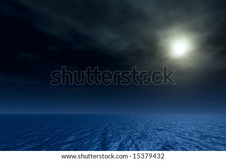 3D night seascape. Moon in ocean. Lens flare on a picture.
