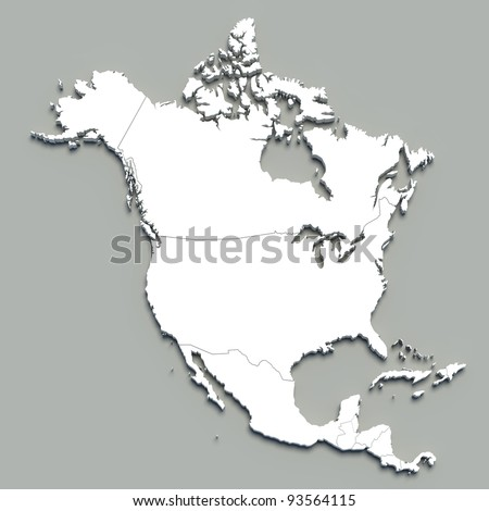 3d north america map on grey