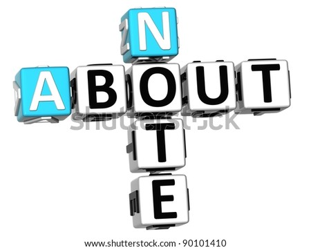 3D Note About Crossword on white background