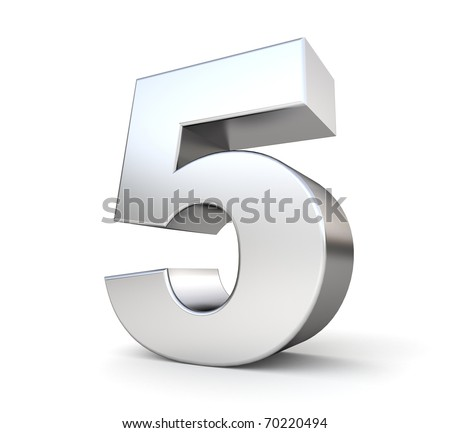 3d number 5 - from my metal number collection