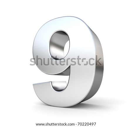 3d number 9 - from my metal number collection