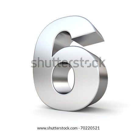 3d number 6 - from my metal number collection