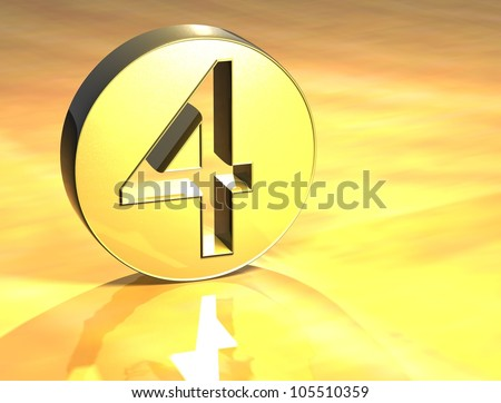 3D Number Gold Sign over yellow background