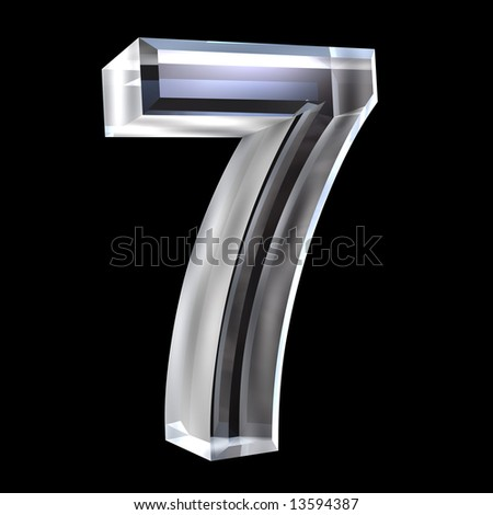 3d number 7 in glass - stock photo