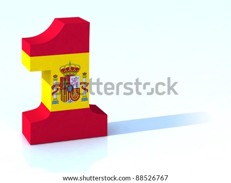 3d number one with spanish flag