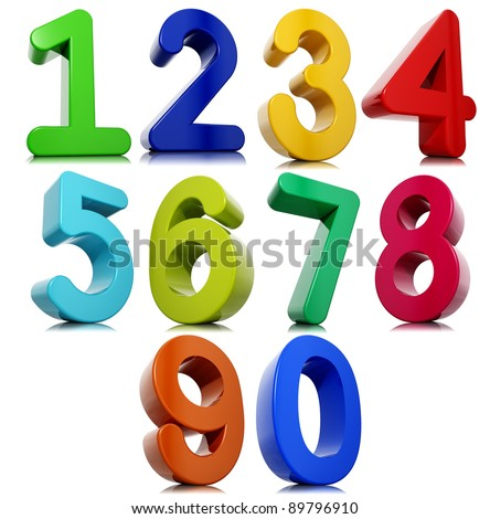 3d numbers set isolated on white background.