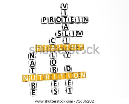 3D Nutrition Health Diet Crossword over white background