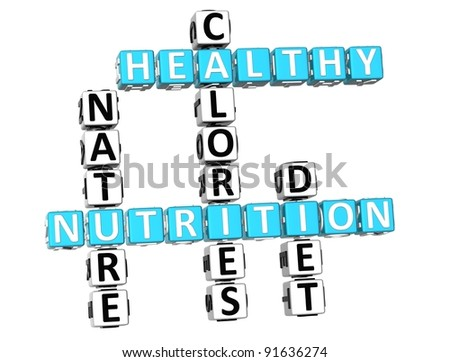 3D Nutrition Health Diet Crossword over white background