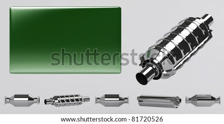 3D of reflecting catalytic converters collection and green plate