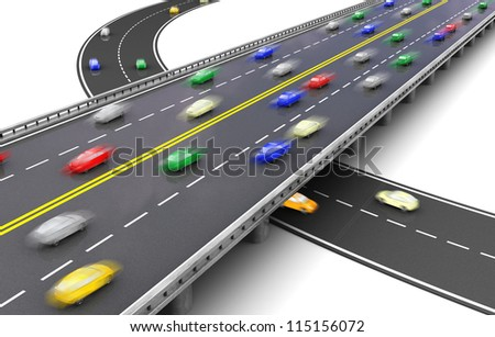3d of road way with several colorful cars driving