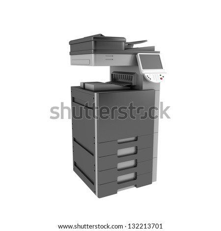3d office multifunction printer isolated on white background