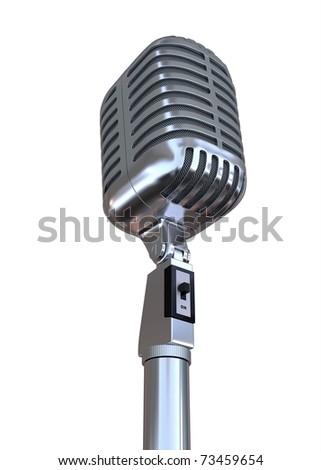 3d old metal microphone