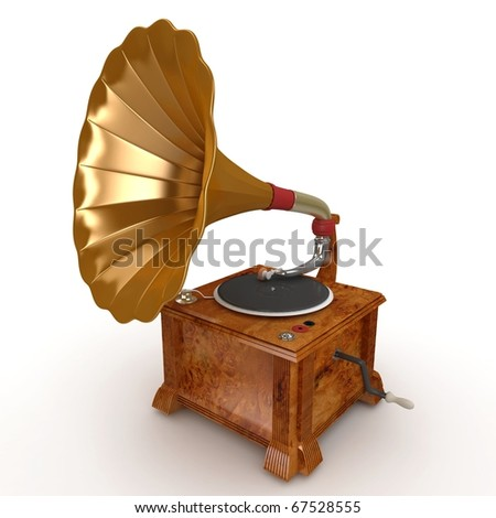3d old vintage gramophone isolated on white #67528555